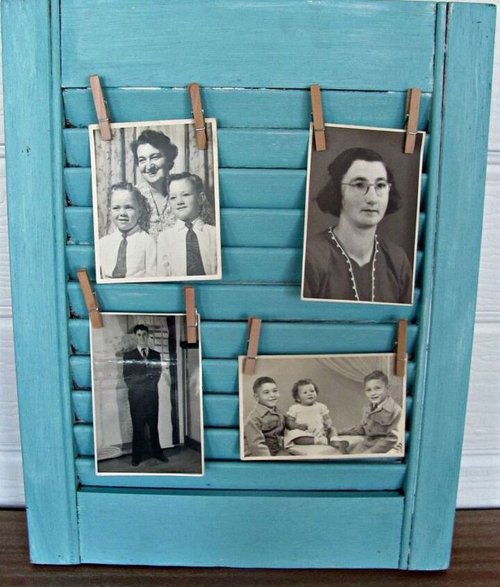 shutter painted aqua and used for old photos
