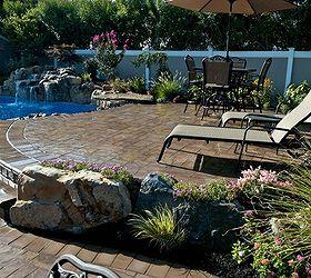 Raised Patios Flower Beds And Waterfall Make Backyard Appear Larger, Decks,  Flowers, Gardening