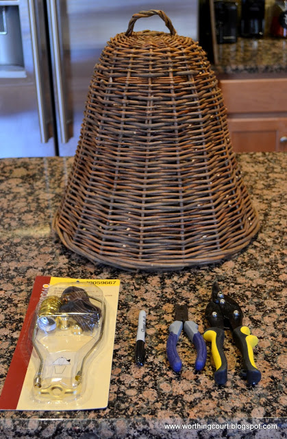 Part of the supplies needed to turn a cloche into a lamp.