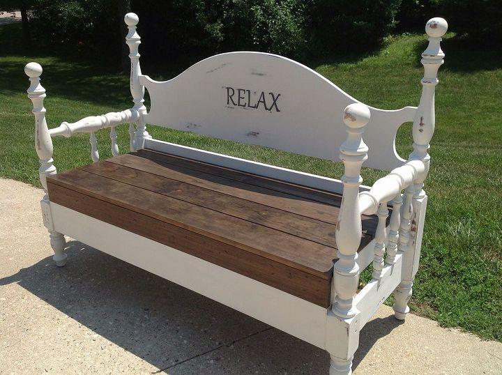 repurposed double bed, diy, painted furniture, repurposing upcycling