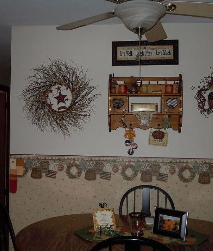 Another view of my dining area hopefully I will put up bead board on bottom half.