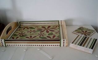 decoupage wood tray and ceramic tiles with scrapbook paper, crafts, decoupage