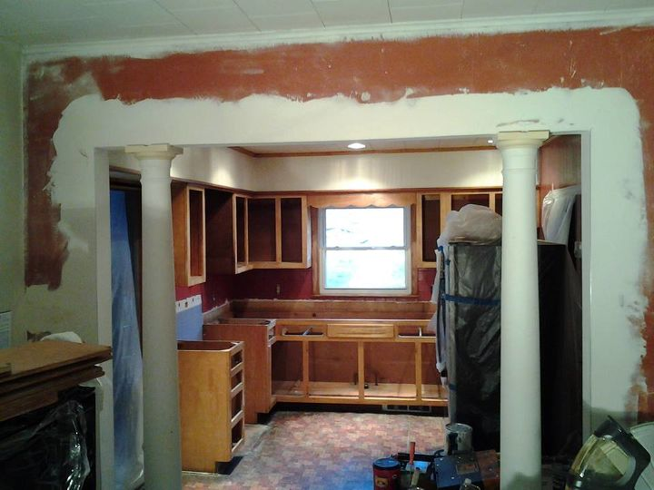 market street kitchen and dining room remodel restoration, dining room ideas, home improvement, kitchen design, After demo and wall had been removed for the columns to be installed