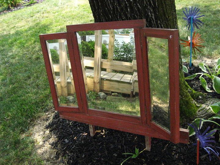 #vintage three paneled #beveled #mirror