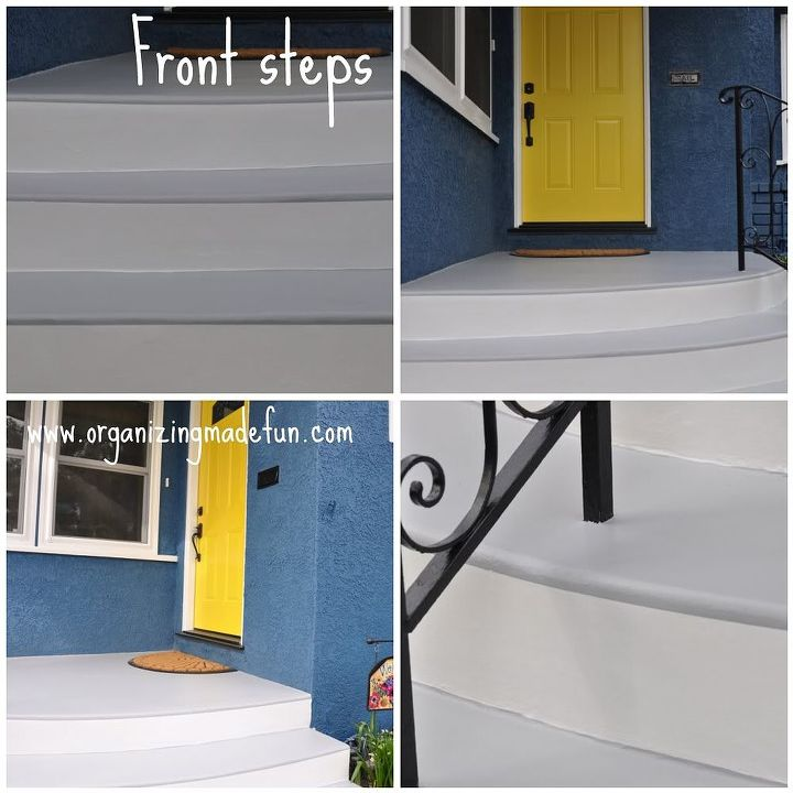 Front steps - give the illusion of being wood from a distance. The gray goes over a little.