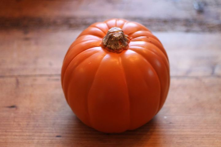 Start with a basic plastic or foam pumpkin.  You can even use a real pumpkin.  (But don't store it for next year!)