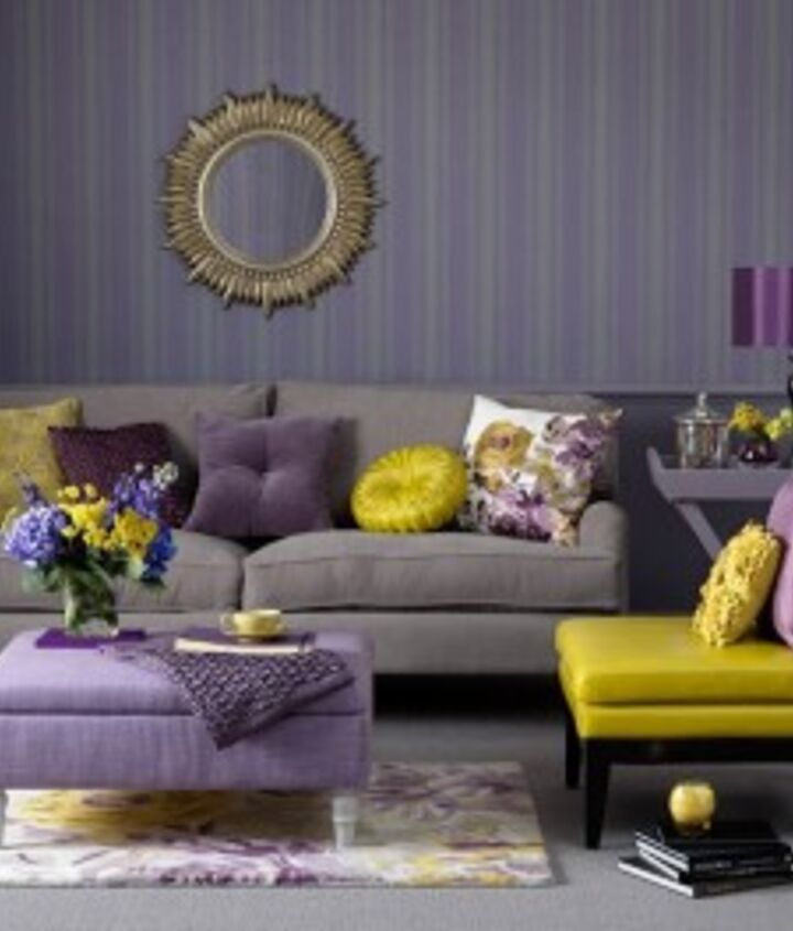 Purple Walls: Gray and purple pair perfectly with bright golds
