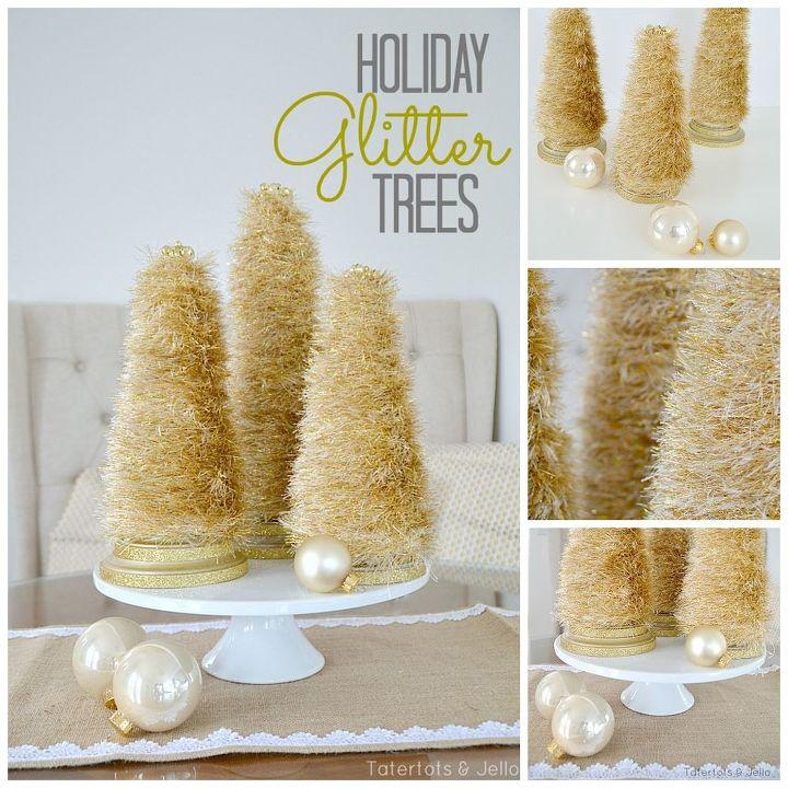 diy centerpiece glitter trees, crafts, seasonal holiday decor