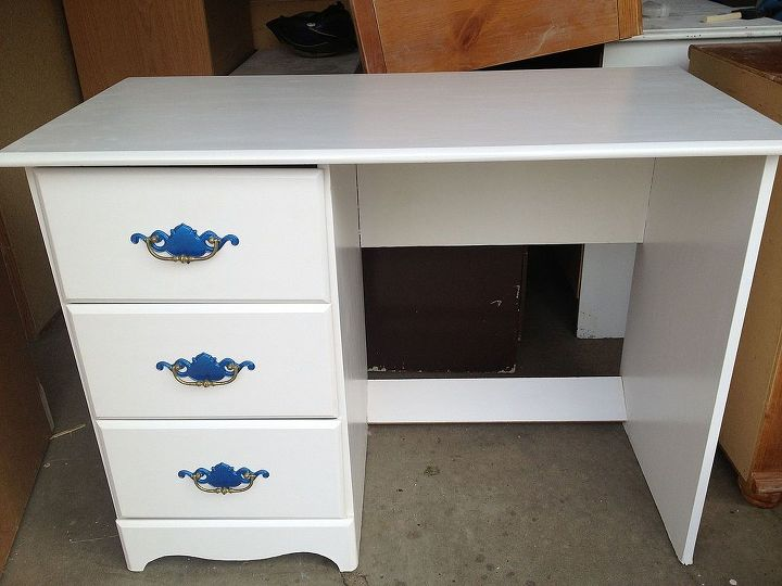 desk… with the bright blue on the handles… painted in chalk paint