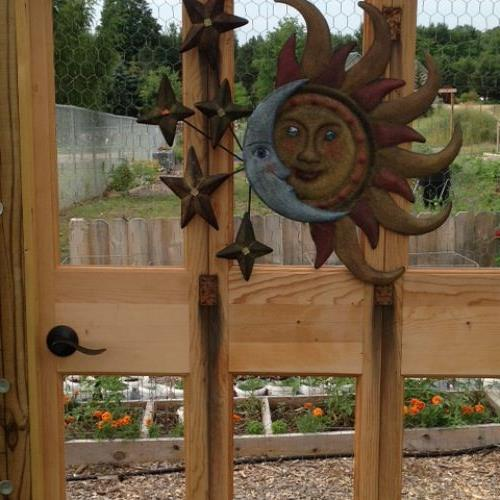 My garden entry...a DIY project using solid wood closet doors with the panels removed and replaced with poultry fencing