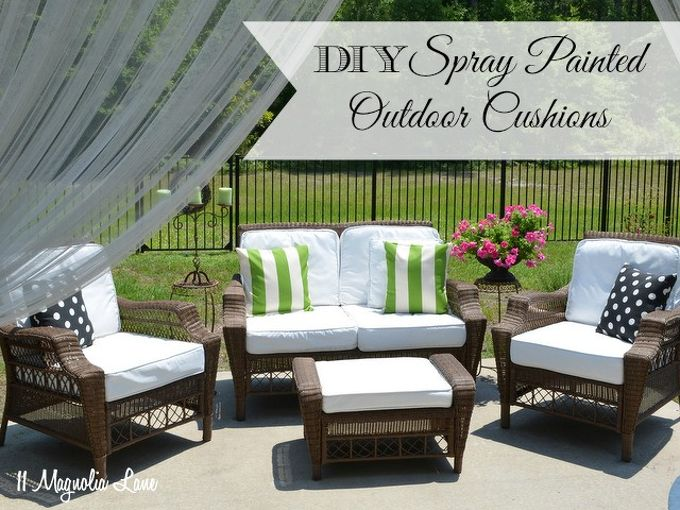 painted fabric outdoor cushions using a paint sprayer, outdoor furniture, outdoor living, painted furniture, reupholster