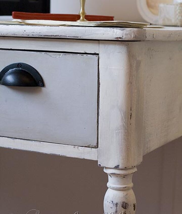 Grey and white painted vintage desk detail