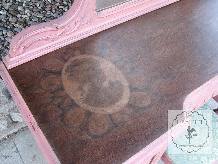 pink cameo vanity, painted furniture