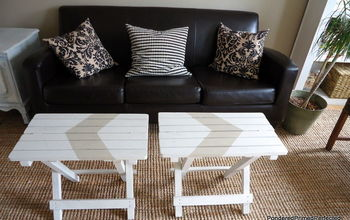 Folding Tables get a fresh makeover with painted Chevron Stripe