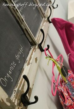 old window to chalkboard calendar, chalkboard paint, cleaning tips, crafts, repurposing upcycling, windows, Hooks for my daughter s clothes each day