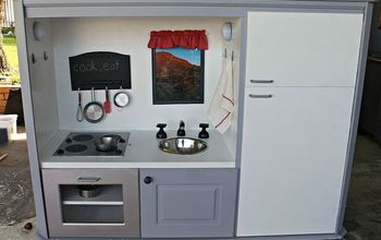 kid s play kitchen, entertainment rec rooms, painted furniture, kitchen transformed from old tv cabinet