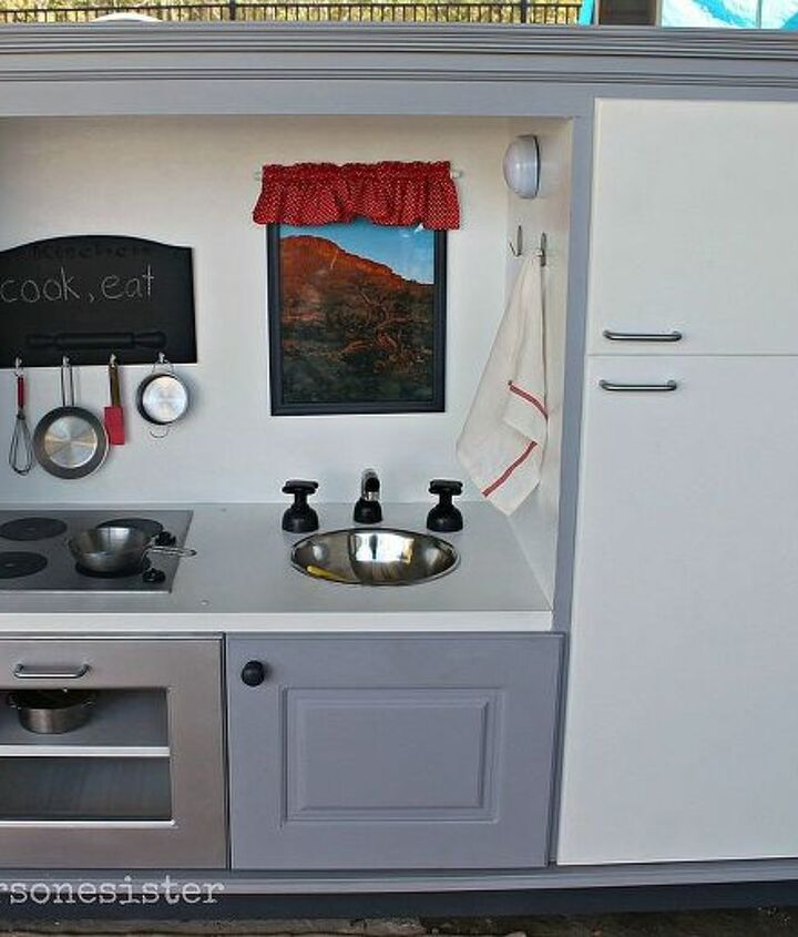 kitchen transformed from old tv cabinet