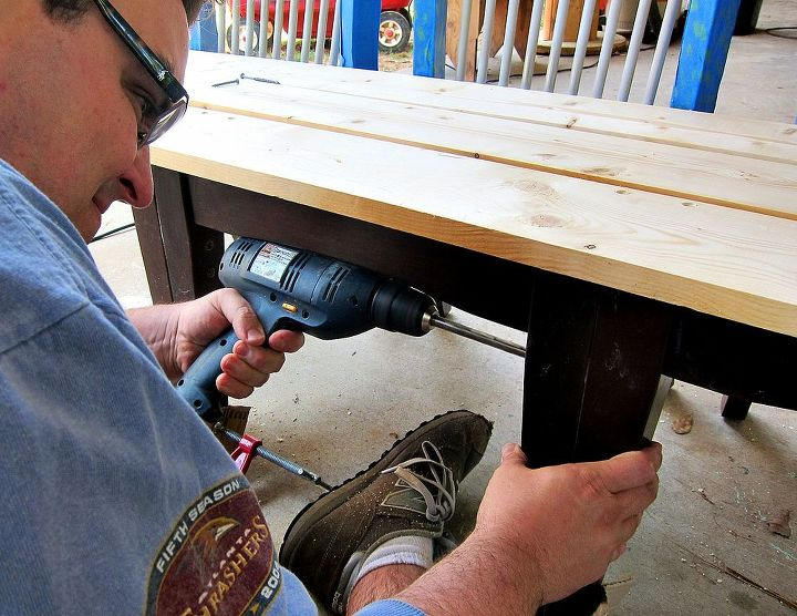My husband reinforced the legs with screws and wood glue to attach them to create a bench.