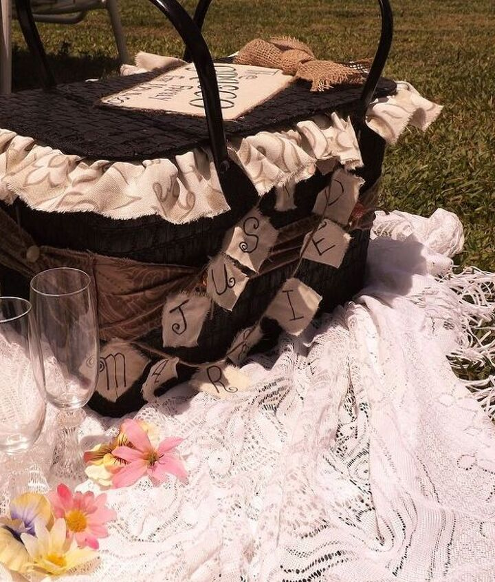a redone picnic basket for a couple to be, crafts, repurposing upcycling