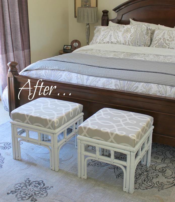 garage sale side tables turned beautiful bedroom stools, painted furniture, repurposing upcycling