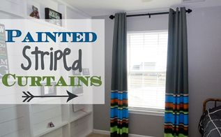 diy painted striped curtains for a boy s room, bedroom ideas, home decor, reupholster, window treatments, Final Result