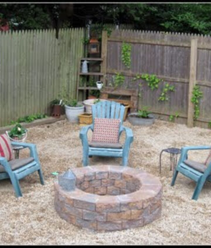 diy fire pit, concrete masonry, outdoor living