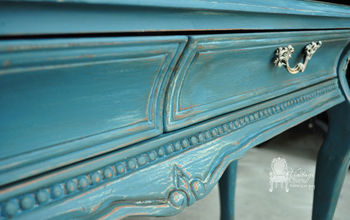 beautiful blues painted entry sofa table, chalk paint, painted furniture, ASCP Aubusson Blue