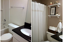 tiny apartment cottage bathroom makeover, bathroom ideas, home decor, urban living, Before and After