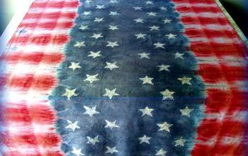 Faux Batik and Tie Dye Patriotic Table Cloth