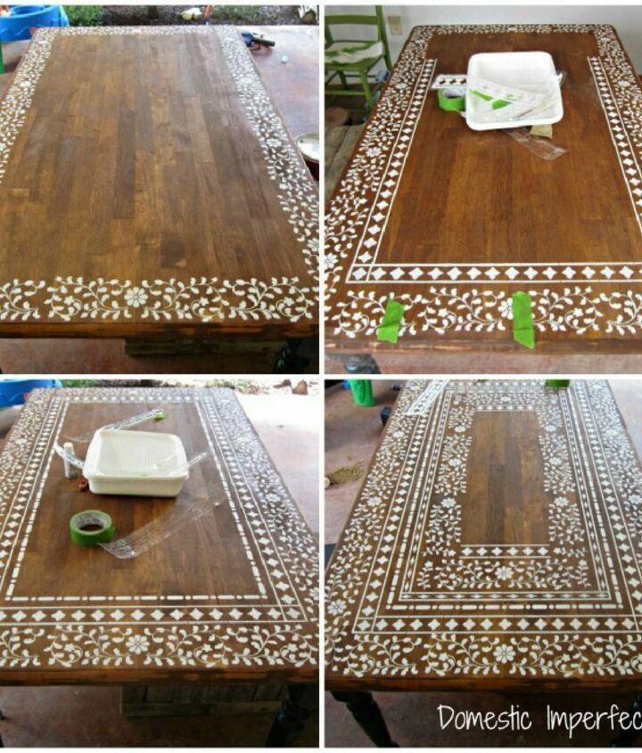 Creating an intricate Indian Inlay stenciled table (process photos)