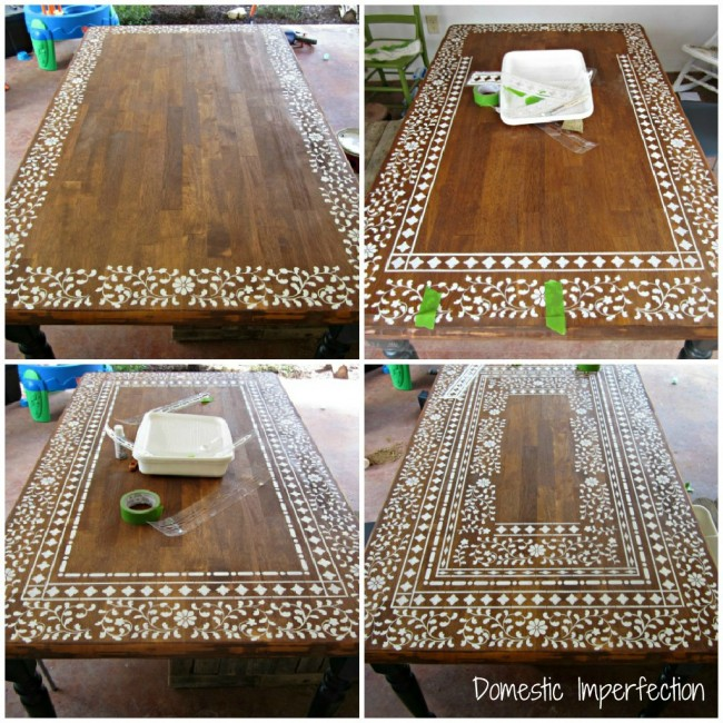 indian inlay stenciled tabletop hometalk