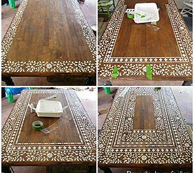 Indian Inlay Stenciled Tabletop, Home Decor, Painted Furniture, Creating An  Intricate Indian Inlay