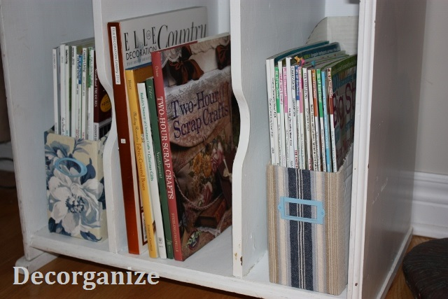 My magazine holders covered in fabric.