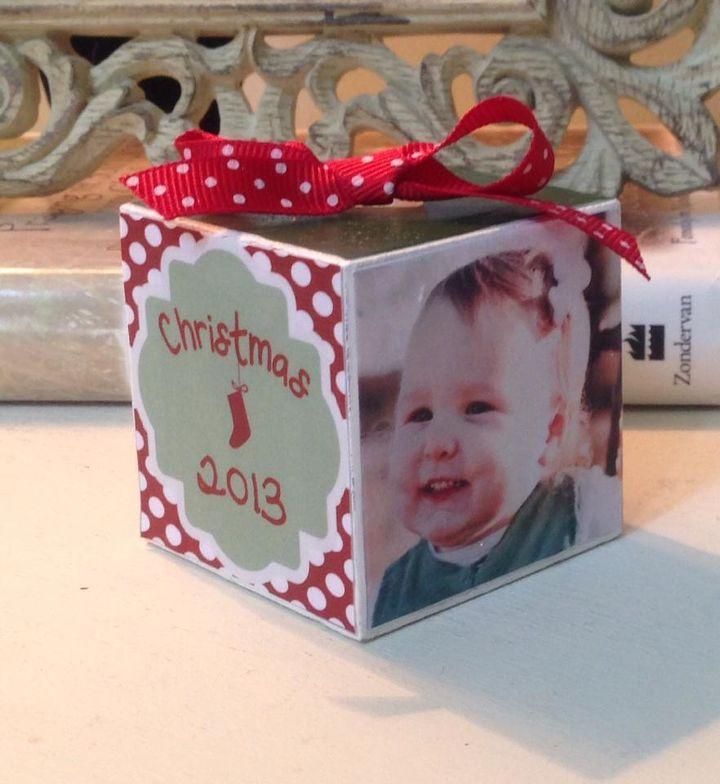 christmas ornament personalized photo block, christmas decorations, crafts, seasonal holiday decor
