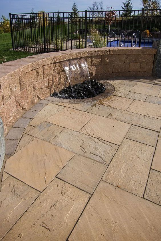 seat wall water feature, ponds water features