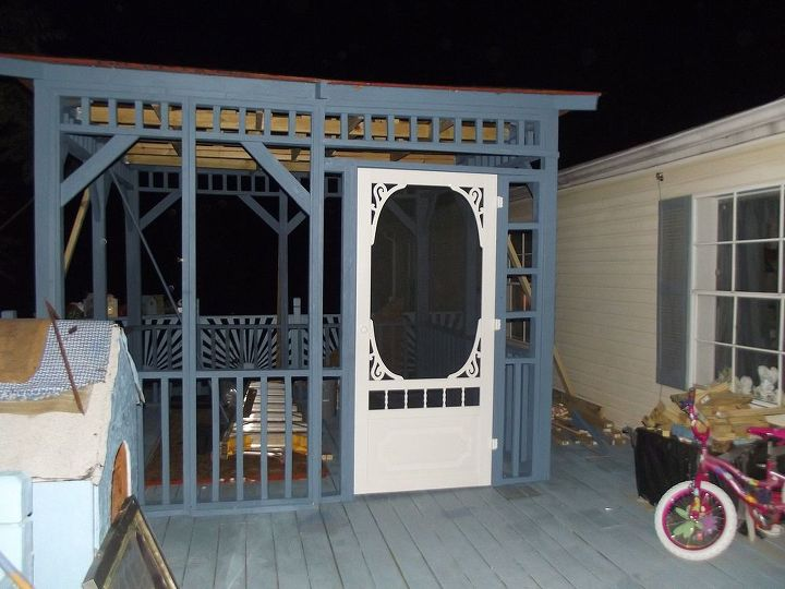 updated and transformed deck to oasis of serenity, decks, diy, how to, outdoor living, porches, woodworking projects, oh how we anxiously anticipated the hanging of the door which I guarded with my life and slept with it by my bed until the appropriate hanging day yep its my dream screen door