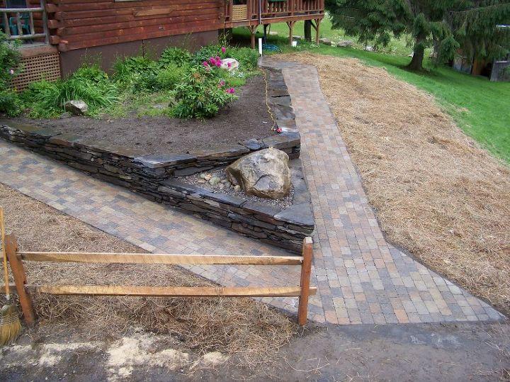 paver walkway stonework poolless bubbler rock, landscape, outdoor living, double entrance walkway