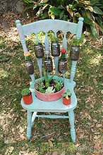 salvaged chair garden planter, gardening, mason jars, repurposing upcycling, succulents, From chair to planter
