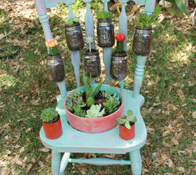 Perfect Salvaged Chair Garden Planter, Gardening, Mason Jars, Repurposing  Upcycling, Succulents, From