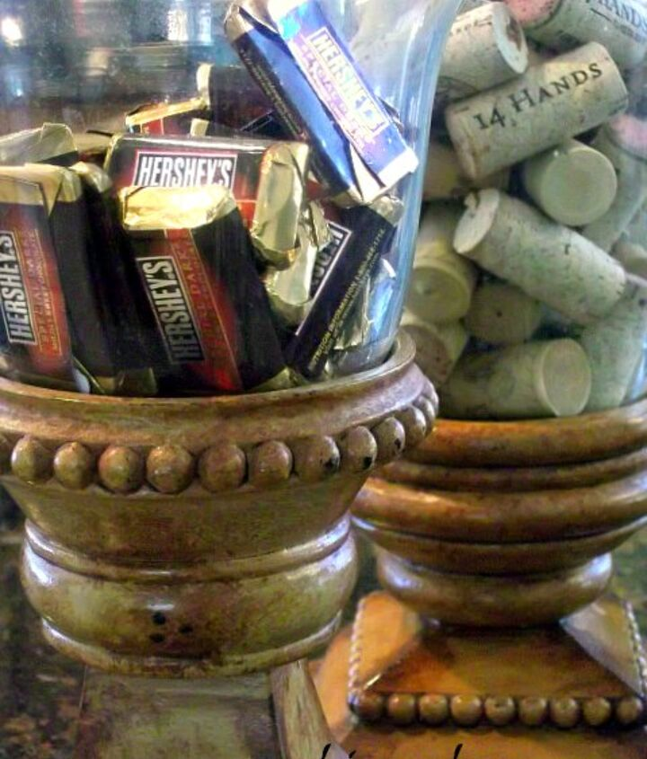 bell jars serving as a candy dish and a place to hold my growing collection of wine corks