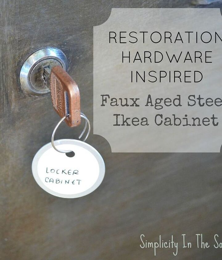 faux aged steel ikea cabinet inspired by restoration hardware, chalk paint, home decor, painted furniture