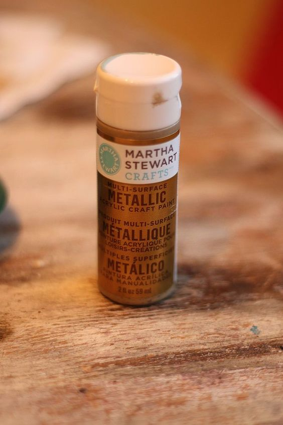 I like Martha Stewart Metallic Craft paints for small projects.  They are highly pigmented and cover well.