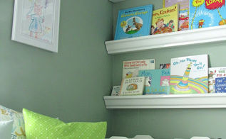 children s reading nook, shelving ideas, storage ideas, These gutter bookshelves were super easy and inexpensive to create We had them cut down when we purchased them at Home Depot and had them installed in less than 15 minutes