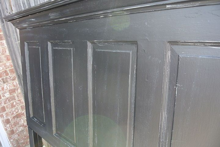 onyx black and chelsea gray distressed 100 yr old door headboard, painted furniture, repurposing upcycling