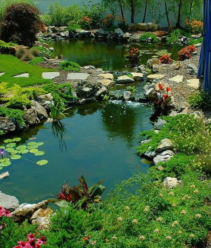 Upper and lower pond with stepping stone path across the stream. This pond project won an International award from the Association of Pool and Spa Professionals (APSP) Silver medal for waterfeatures. www.deckandpatio.com