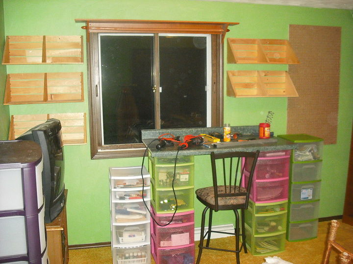 Ok, here we are, shelves on both sides of window to utilize the room on the wall, I have lots of craft and quilt books, etc.  Even one stroke painting books, love to paint too....ok, ok.....move on..organizing my storage