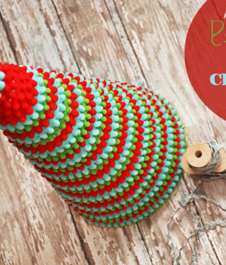pom pom trim christmas tree, christmas decorations, crafts, home decor, seasonal holiday decor