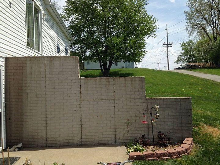 Plain ugly foundation retaining wall hometalk - Exterior concrete wall paint colors ...