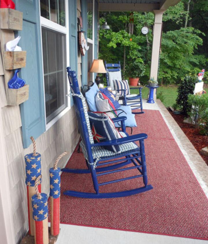 homemade firecracker burlap porch decorations, crafts, outdoor living, patriotic decor ideas, porches, seasonal holiday decor, wreaths