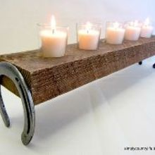 repurpose horseshoes and wood into a rustic country candle holder, crafts, repurposing upcycling